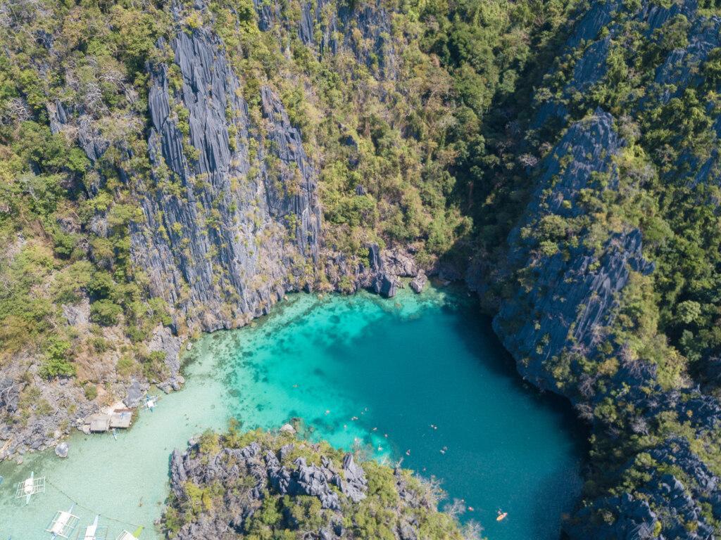 Twin Lagoon, Coron, private island hopping, drone