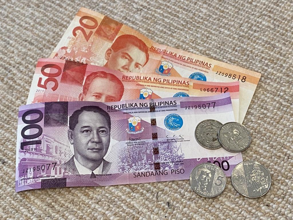 Filipino pesos, coins and bills