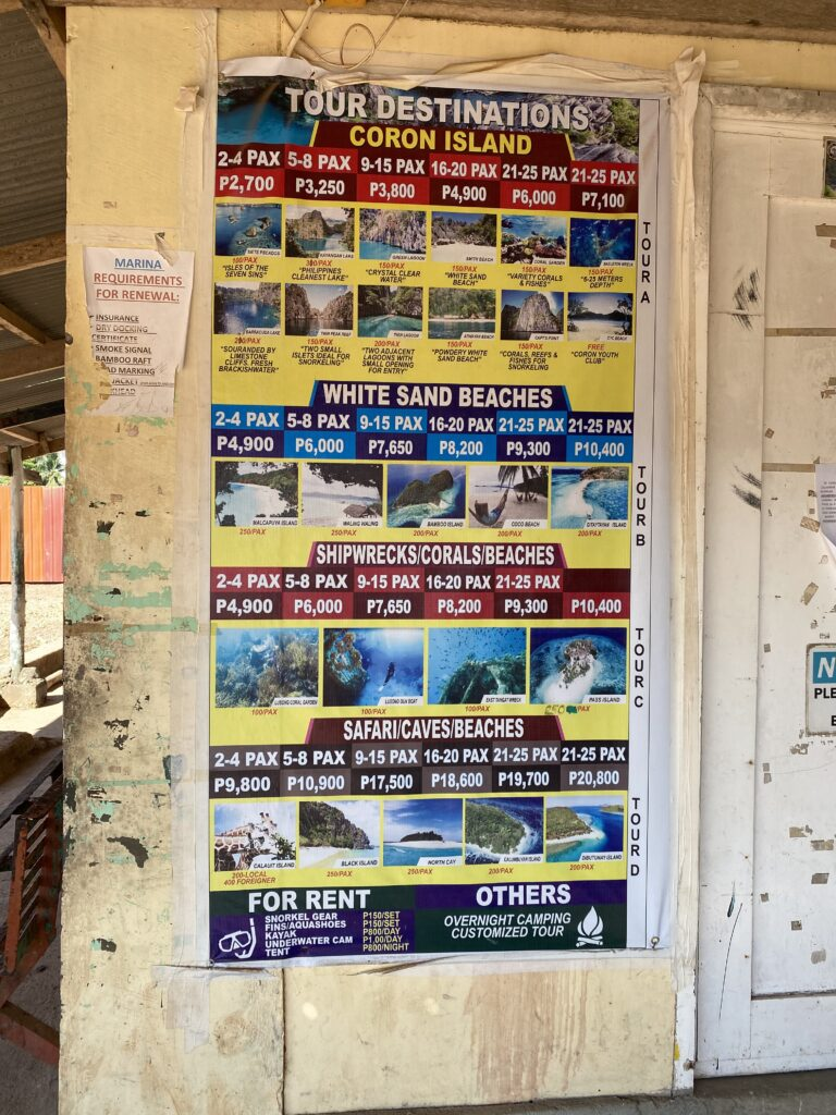 Price, Private boat around Coron, entrance fees for the different spots