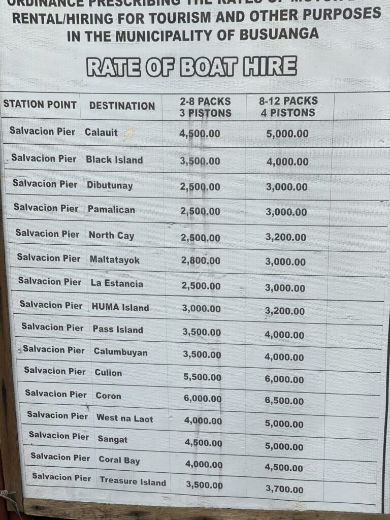 Rate of boat hire from Salvacion, private boat rate, Black island