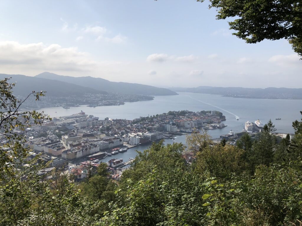 Spectacular view of Bergen, Mount Fløyen