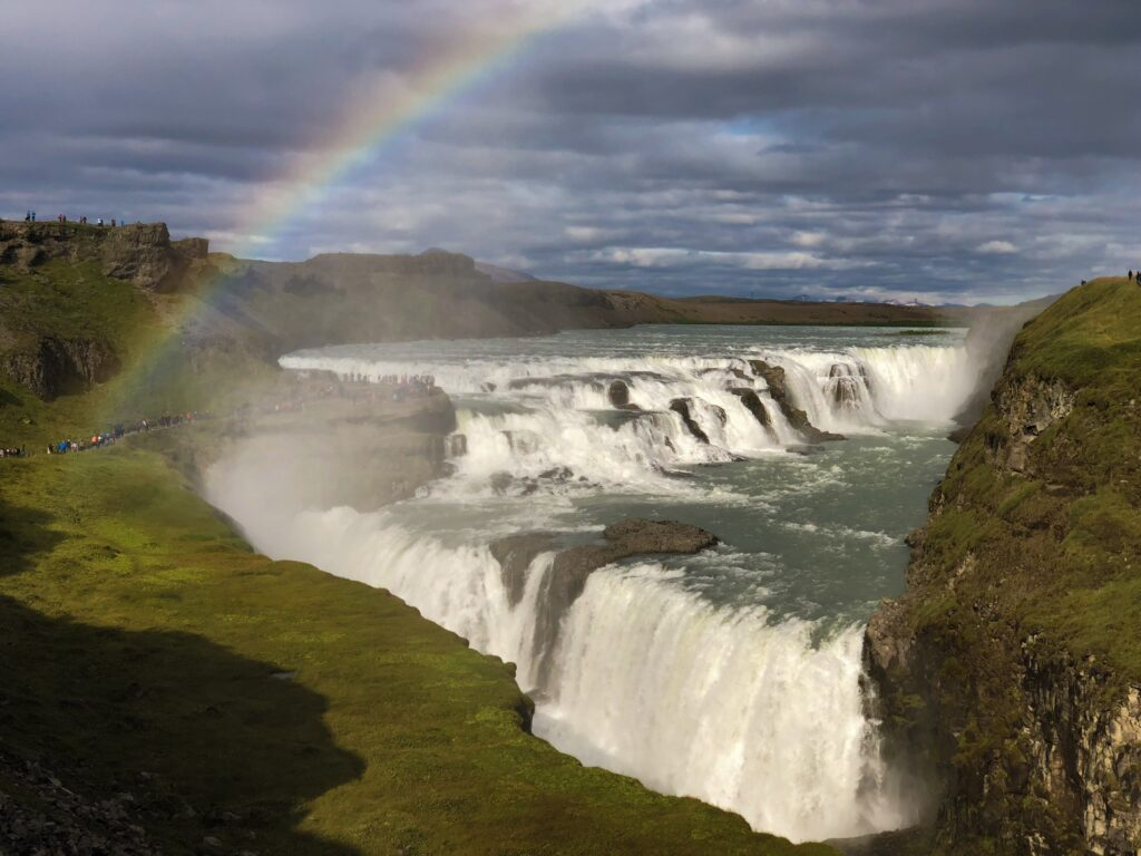 Gullfoss waterfall with a rainbow