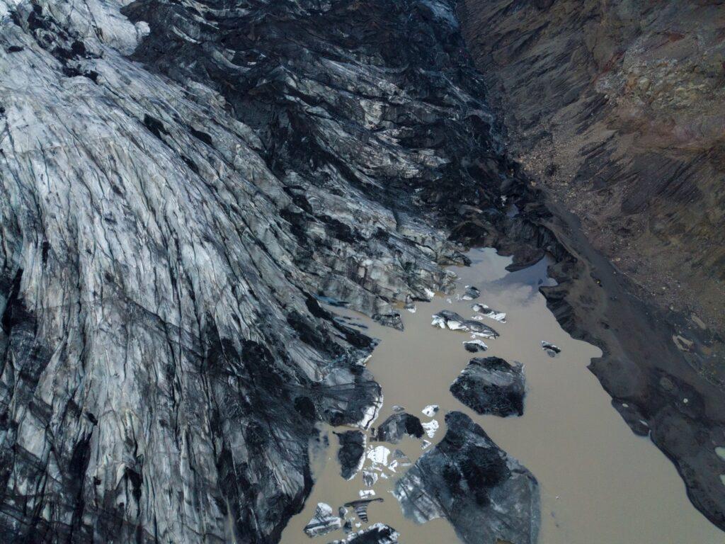 Glacier de Mýrdalsjökull - vue avec le drone