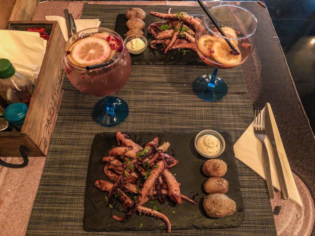 Poulpe grillé au restaurant - São Rafael Cellar