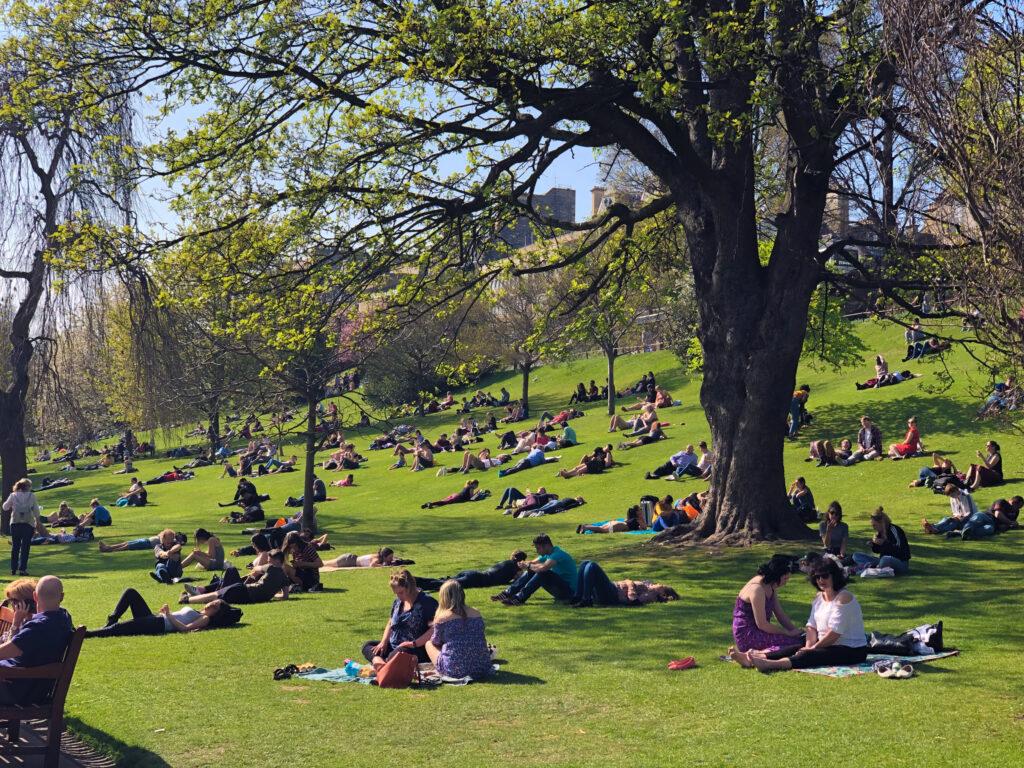 Relaxing break at the The Princes Street Garden