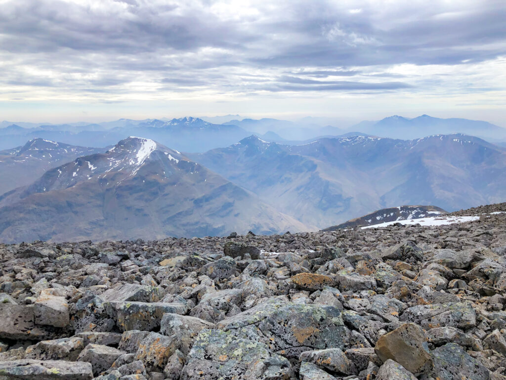 Panoramic view on the mountains from the Ben Nevis